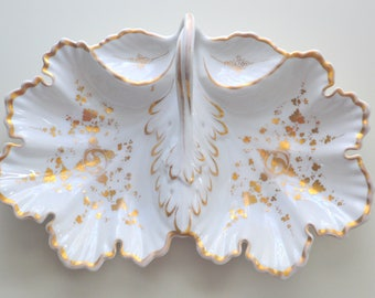 Carl Tielsch White and Gold Divided Dish Leaf Shaped TPM Silesia Altwasser 1850's