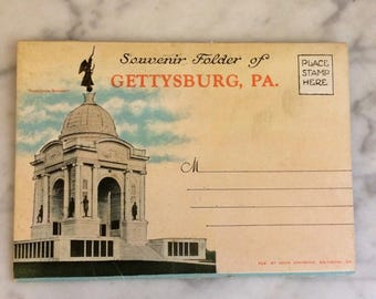 Gettysburg, Souvenir Folder of Photos, Lincoln's Address, Gettysburg Battlefield, Civil War Monuments, Memorials