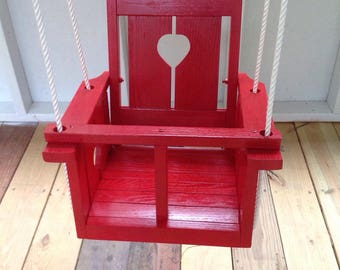 Childs (Toddler's)solid oak wood   Heart  swing (red)