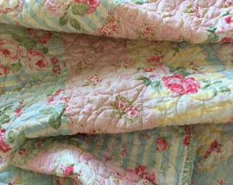 Handmade Vintage Floral Baby quilt, baby girl quilt, baby gift