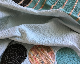 Handmade lap quilt, modern quilt, boutique quilt, made in Canada