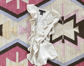 VTG 100% Silk Top // 90's // Floral // Cream // Ruffle // Blouse // Sleeveless // Bohemian