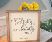 Hand painted wood sign, fearfully and wonderfully made, nursery wood sign, childrens room sign, baby shower gift
