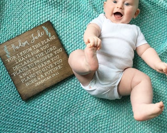 Jeremiah 29:11, Custom baby sign, Baby gift, Custom Hand painted Wood Sign,  small wood sign,  wooden sign, handlettered wood sign