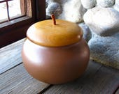 Large Pigeon Forge Pottery Acorn, Canister, Cookie Jar, Wood Lid, Cottage, Cabin Chic, Rustic