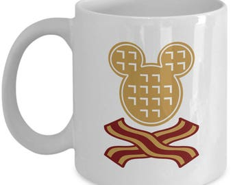 Mickey Waffles Bacon Disney Fun Gift Mug Disneyland Mouse Coffee Cup Breakfast Brunch