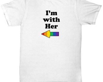 I'm with Her LGBT Lesbian Gift Shirt Pride GLBT Rainbow Shirts