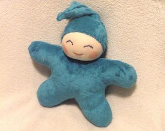 Grand Lutin étoile d'inspiration Waldorf, bleu/vert (bleu canard!) 22/25 cm