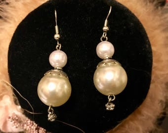 Fantastic dangle earrings with glass pearl and silver accents