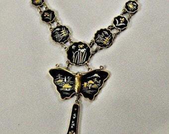 Damascene Japanese Gold Silver Butterfly Necklace, Vintage Demascene Pagoda Scene Necklace, Shakudo Lavaliere necklace