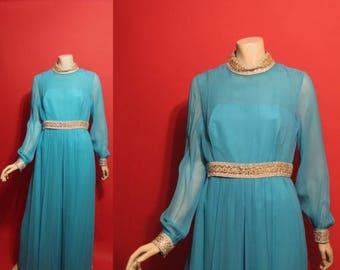 ON SALE Vintage 1960's Space Age Aqua Chiffon One Piece Pantsuit 60's Womens Outfit - M