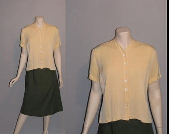 ON SALE Vintage 1950's Simply Worn 50's Light Mustard Rayon Summer Pleated Womens Blouse -M