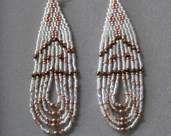 White, Chamgagne and Bronze Native American Style Seed Beaded Earrings