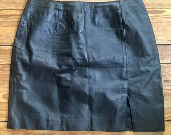 vintage, leather mini skirt, with small slit in front and zipper in back // free shipping