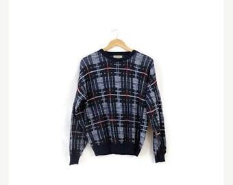 ON SALE Vintage Navy/Green/Burgundy Plaid Round neck Sweater from 90's/Boyfriend Sweater*