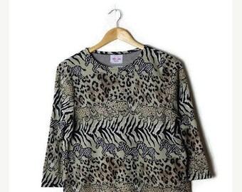 ON SALE Vintage Zebra x Cheetah Animal Printed  Long sleeve Blouse from 80's*