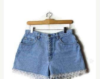 ON SALE Vintage High Waist Light Blue x Lace trim Denim Shorts from 90's/W28*