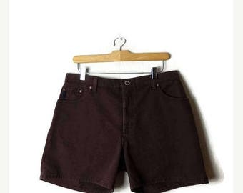 ON SALE Vintage Dark Brown  Denim cut off Shorts from 90's/W31*