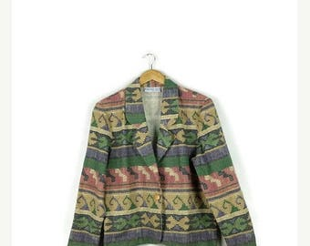 ON SALE Vintage  Southwestern Tribal/Navajo Inspired Cotton Blazer Jacket from 1980s*