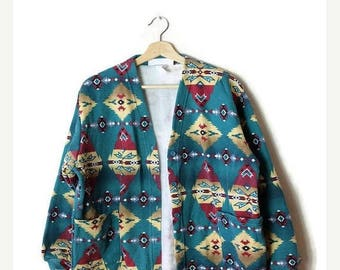 ON SALE Vintage  Green x Navajo/Tribal inspired pattern Sweatshirt Cardigan from 90's*