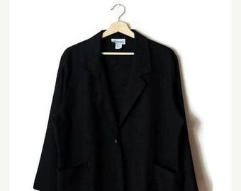 ON SALE Vintage Black  Linen x Rayon Slouchy Light Blazer from 1980's/Minimal Jacket/Minimalist*