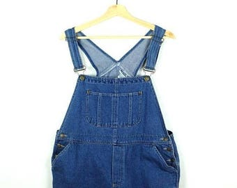 ON SALE Denim x Birds/Floral printed Overalls Bib Shorts from 90's /All in One Carpenter/Farmer/Gardening*