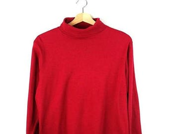 ON SALE Vintage Red High Neck Long sleeve T-shirt from 90's/Woolrich*