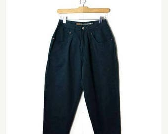 ON SALE Vintage Dark Green High waist Cotton Tapered Pants from 1980's/W24/Dead stock*