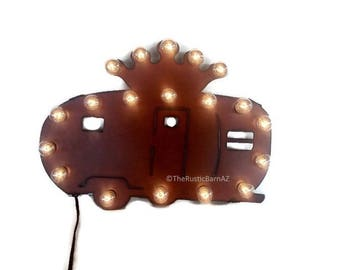 TRAILER with CROWN MARQUEE lighted sign made of Rusted Recycled Metal Vintage Inspired