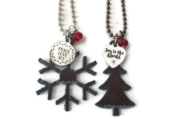 HOLIDAY CHRISTMAS TREE snowflake or snowman necklace with tag and a crystal bead made of Rustic Rusty Rusted Recycled Metal