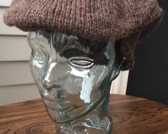 Knit pure virgin wool newsboy cap