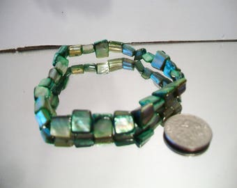 Green Shell Stretch Bracelets Shimmery Iridescent Jewelry Beachy Boho Fashion Accessories For Her
