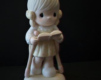 Vintage 1987 PRECIOUS MOMENTS FIGURINE He Walks With Me 107999 Limited Easter Seals Handicap Little Girl