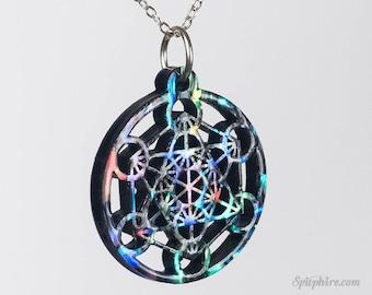 Metatrons's Cube Pendant - Abalone - Sacred Geometry Necklace - Merkaba Pendant - Laser Cut
