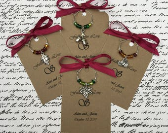 50-95 Custom Autumn Themed Wine Charm Favors - Weddings, Bridal Shower, Rehearsal Dinner, Anniversary, Dinner Party or Special Event