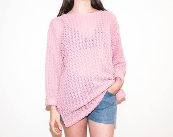 90s pink textured mesh tunic / see-through beach cover-up sweater / size XL