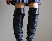 50% OFF SALE... 1980s knee high boots | navy leather scrunched pirate boots