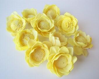 Lemon Yellow Camellia Sola Flowers- SET OF 10 , Sola Flowers, Lemon Yellow Wood Sola Flowers, Camelia Sola, Wedding DIY