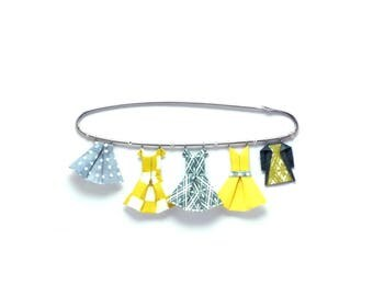 Lemon yellow/grey blue washi paper origami clothing pin