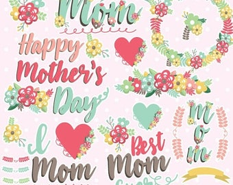 80% OFF SALE Mother's day clipart commercial use, mother's day vector graphics, flowers digital clip art, mother digital images - CL1079