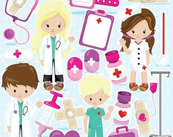 80% OFF SALE Doctor clipart commercial use, Hospital clipart vector graphics, kids hospital digital clip art, digital images - CL966