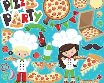 80% OFF SALE Pizza clipart commercial use, Pizza party clipart vector graphics, digital clip art, pizza digital images - CL950