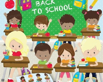 80% OFF SALE Classroom kids school clipart, clipart commercial use, school vector graphics, digital clip art, digital images - CL899