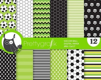 80% OFF SALE Soccerball digital paper, commercial use,  scrapbook papers, soccer background, sports - PS867