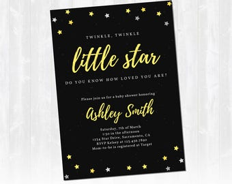 Twinkle Twinkle Little Star Baby Shower Invitation - Full Customization - Digital Download - Printable Invitation - ALL colors! Boy or Girl