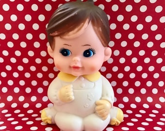 Vintage Squeaky Doll Toy Rubber Squeak Kawaii Collectible Doll 1970s Iwaii
