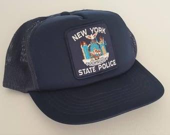 Vintage New York State Police Trucker Style Snapback Hat VTG