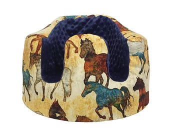 Horse and Navy Minky Bumbo Seat Cover