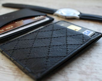 slim wallet minimalist wallet diamond quilted leather thin wallet mini wallet front pocket wallet mens leather wallet leather card holder