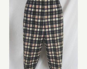 On sale 50s 60s Blue Plaid Womens Vintage Capri Cigarette Pin Up Pants W 25